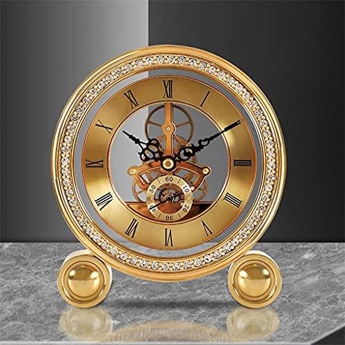 KLHDGFD Reloj de mesa Vintage de latón, reloj despertador de cuarzo para sala de estar de lujo, decoración del hogar, reloj de escritorio Retro, reloj de mesa, regalo (Color : A, Size : One size)