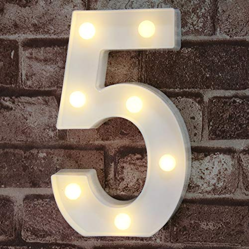 Decorative Led Light Up Number Letters, White Plastic Marquee Number Lights Sign Party Wedding Decor Battery Operated Number (5)