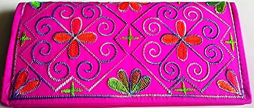 Wallet Made of Silk in Beautiful Thailand Colorful Brush with Multi-colored Thread,