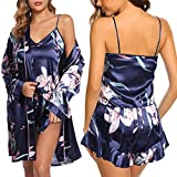 Danfiki Seda Nighties Batas Pijamas para Mujeres Niñas Ropa de Dormir 3pcs Encaje Tirantes Blusa y Pantalones Cortos Camisola Ropa de Dormir