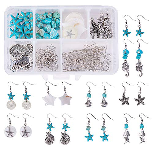 SUNNYCLUE 1 Box Starfish Seahorse Shell Dangle Earring Making Starter Supplies Kit - DIY Make 10 Pairs Starfish Seahorse Shell Dangle Drop Earrings, Fish Hook, Ocean Beach Theme