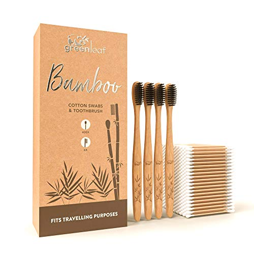 Bamboo Cotton Swabs 3' (400 units) & Bamboo Toothbrush (4 units) with Soft Bristles - Biodegradable Swabs & Toothbrush Set. Eco Friendly, Recyclable Cotton Buds for Ear Cleaning