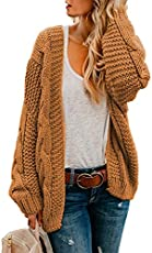 Astylish Womens Fashion Winter Fall Thick Cozy Open Front Long Sleeve Chunky Knitting Ribbed Cardigan Sweater Small Size 4 6 Yellow Brown