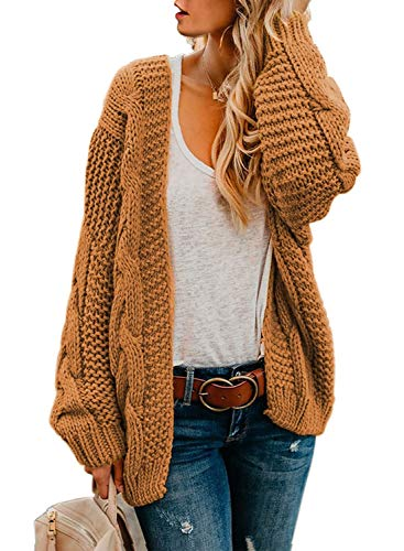 Womens Cardigans Ladies Autumn Warm Cozy Open Front Long Sleeve Chunky Cable Knit Ribbed Cardigan Sweater Large Size 12 14 Yellow Brown