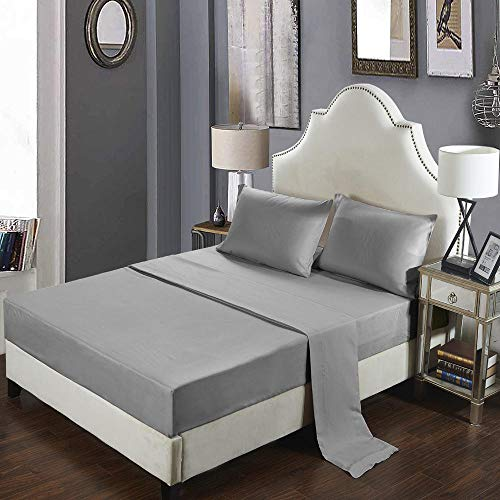 GTWOZNB Bed Sheets, Ultra Soft Silky Smooth and Wrinkle-Resistant Pure color sanded bed sheet-7-light gray_198*203cm