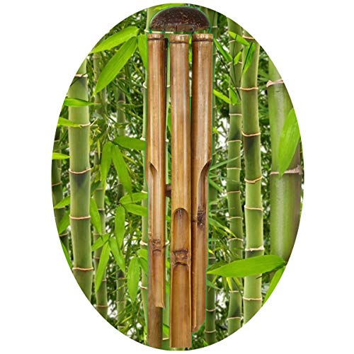 Simandra Windspiel Klangspiel Bambus Deko Mobile Klangröhren Klang-Spiel Entspannung Garten Türglocke Feng Shui 100 cm