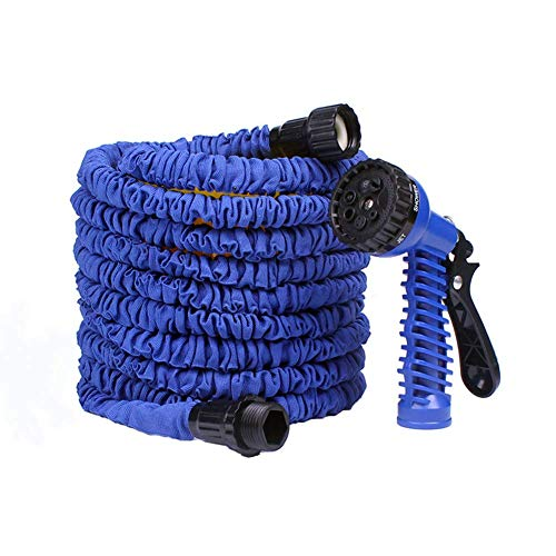 Qiongjie Expandable 15M / 50FT Garden Hose Pipe, Lightweight Non Kink Water Spray Nozzle Gardens Best Magic Stretch Hosepipe with Spray Gun (Blue)
