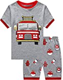 Little Hand Boys Fire Truck Pjs Baby Short Sleeve Pajamas Sets 100% Cotton Sleepwear Fireman Toddler Outfit 5 6T Grey