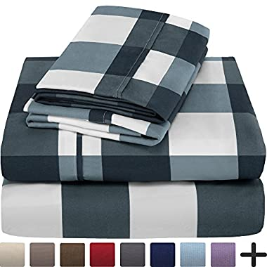Premium 1800 Ultra-Soft Microfiber Collection Sheet Set - Double Brushed - Hypoallergenic - Wrinkle Resistant - Deep Pocket (Queen, Gingham Blue)