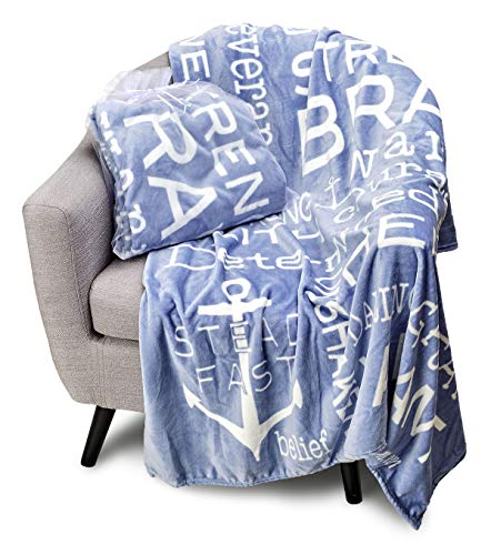 Blankiegram Bravery Inspirational Throw Blanket for Strength, Encouragement & Perseverance   The Perfect Caring Gift (Blue)