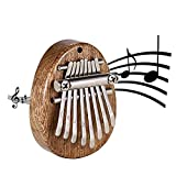 Kalimba Mini Thumb Piano, Wooden 8 Keys Finger Marimba, Portable Musical Instruments with Lanyard and Short chain, Gift for Kids&Adults&Beginners, Travel Instrument
