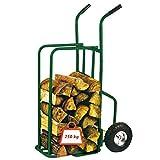Provence Outillage Online 07511 - Carrito para leña, carga máxima de 250 kg, ruedas hinchadas, color verde
