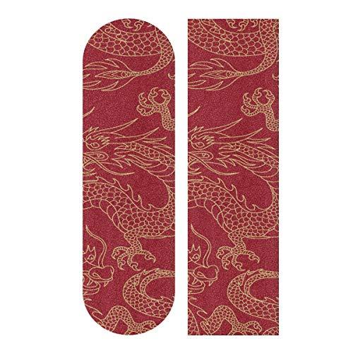 LMFshop 33,1x9,1 Zoll Sport Outdoor Skateboard Aufkleber Chinesischen Drachen Kampf Gold Umrisse Auf Druck Wasserdicht Skateboard Griptape Für Tanzbrett Doppel Rocker Board Deck 1 Blatt