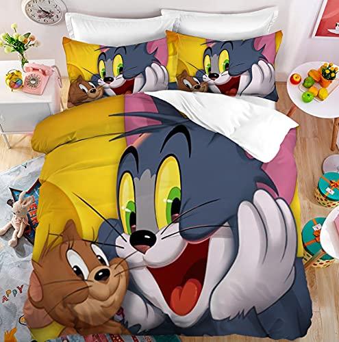 Tom y Jerry - Juego de ropa de cama, funda de almohada de 80 x 80 cm, 100% microfibra, tamaño completo (J-1, 140 x 210 cm + 50 x 75 cm x 2)