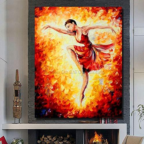 Handgeschilderde oliekunst versiering mooi meisje In het rode Ballet woonkamer muur Decor75cmx120cm No frame