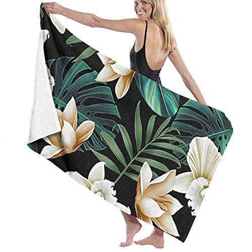 Toalla de playa de microfibra grande con flores tropicales florales, hojas de palmera, 130 x 80 cm, ligera y seca toalla de microfibra, perfecta como toalla de playa y toalla de viaje