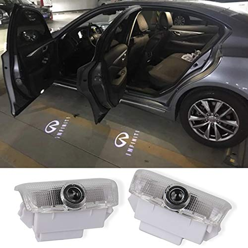 2Pcs LED Car Logo Lights Ghost Light Door Light Projector Welcome Accessories Emblem Lamp For Infiniti FX37 FX50 G37 G25 Q50 Q60 M25 M35 M37 EX25 EX35 EX37 QX50 QX56 QX70 QX80 FX G M EX Compatible