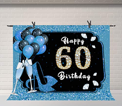 Glamour 60th Diamond Birthday Background, Parents Birthday Party Photography Props 7x5ft Blue Balloons Champagne Photo Backdrop Banner BJQQFU158