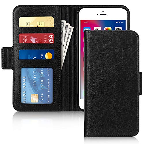 FYY [Resist Harmful Organism] [RFID Blocking] Case for iPhone 8 Plus/iPhone 7 Plus (5.5 inch), PU Leather Wallet Case with [Kickstand Function] and [Card Holder] Black