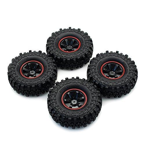 INJORA 1:10 RC Rock Crawler 1.9 Inch Rubber Tires & Plastic Wheel Rim Set for Axial SCX10 Tamiya CC01 D90 TF2