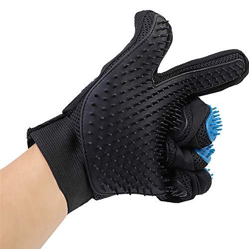 ZHHAOXINPA Pet Hair Remover Handschoen, 2-in-1 Grooming Brush Handschoen, True Touch Deshedding met 5 Vinger Design, Rubber Tips voor massage en badborstel, Perfect voor honden en katten, Blauw