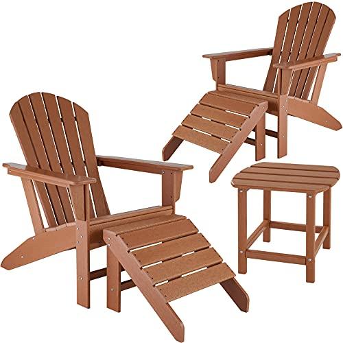 TecTake 2er Set Adirondack Gartenstuhl mit Fußablage und Beistelltisch, Holzoptik, Outdoor Set mit Stuhl, Fußstütze und Tisch, für Garten, Terrasse und Balkon, wetterfest (Braun)