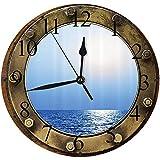 Yaoni Silencioso Wall Clock Decoración de hogar de Reloj de Redondo,Ojo de Buey Estampado Marrón Azul Dorado, Azul Marino Crema Rojo,para Hogar, Sala de Estar, el Aula