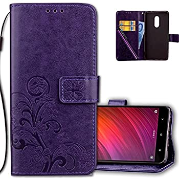 COTDINFORCA Case for Redmi Note 4 Wallet Case Leather Premium PU Embossed Design Magnetic Closure Protective Cover with Card Slots for Xiaomi Redmi Note 4  5.5 inch  Luck Clover Purple