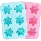 Akrcheft 2 Stück 6 Fächer Silikon-Seifenformen Seife mit Weihnachten Schneeflocken, 12 Muster für...