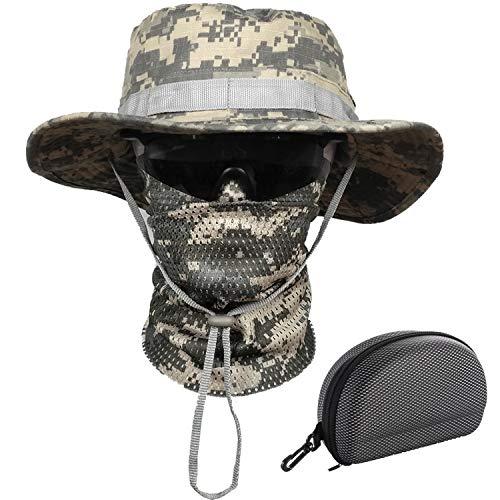 QMFIVE Gläser Taktische Boonie Hut Schal Unisex Camouflage Abgerundete Hut Fischer