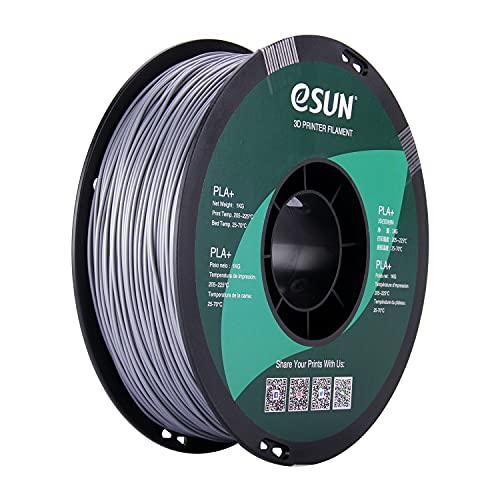 eSUN PLA Plus 3D Printer Filament, PLA+ Filament 1.75mm, Dimensional Accuracy +/- 0.03mm, 1KG (2.2 LBS) Spool 3D Printing Filament for 3D Printers, Silver