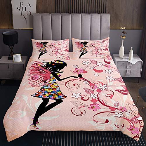 Tbrand Colcha de hadas de mariposas para niños y niñas con diseño de flores y flores, color rosa