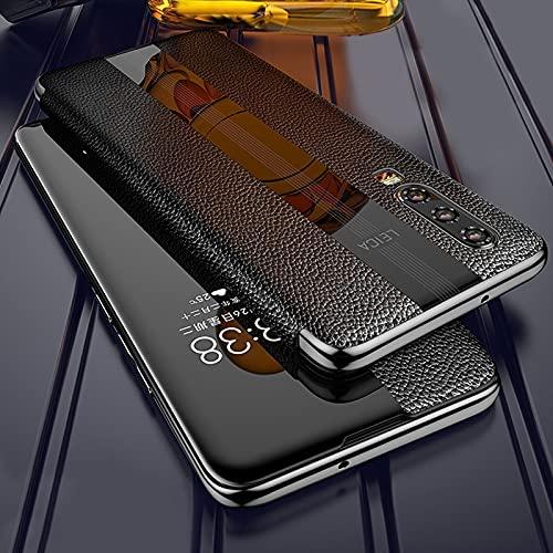 Byr883onJa Funda protectora para Huawei P20 Pro Cuero auténtico Smart Flip Funda protectora Teléfono (Color: Negro)