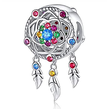 Dream Catcher Charm fit Charms Bracelet 925 Sterling Silver Feathers Tassel Bead Charm with Colorful Stones Pendant for European Bracelets Necklace