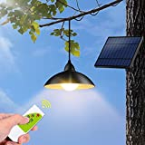 Outdoor Solar Lights, Tomshin-e IP65 Waterproof Outdoor Pendant Light with Remote Control, Brightness Adjustment Solar Shed Light for Garden Patio( Warm White)