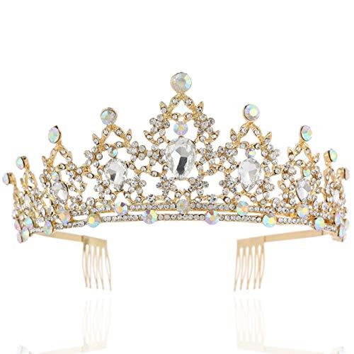 Coucoland Braut Tiara Hochzeit Krone Luxus Prinzessin Diadem Kristall Geburtstag Krone Damen Kostüm Accessoires (Stil 1 - Gold)