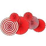 SUNBEAUTY ペーパーファン 6個セット 3つサイズ ペーパー飾り付け 扇フラワー 扇子 (レッド系)