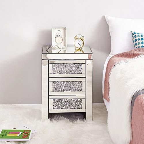 Panana - 1 * Mesilla de Noche Cabecera 3 Cajoneras Espejos Cristal Modelo Diamantes para Dormitorio...