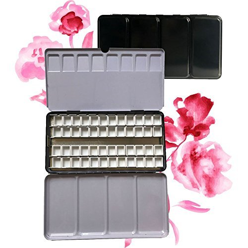 Easy-going Plastic Empty 48 Pcs Half Pans for Watercolor Paint Metal Tin Box Palette
