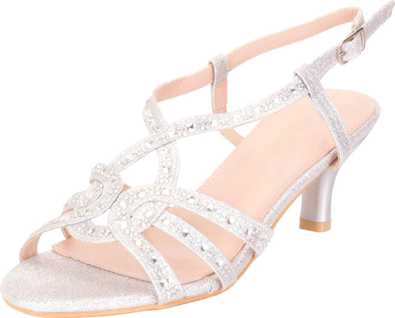 Cambridge Select Women's Strappy Crystal Rhinestone Mid Kitten Heel Dress Sandal