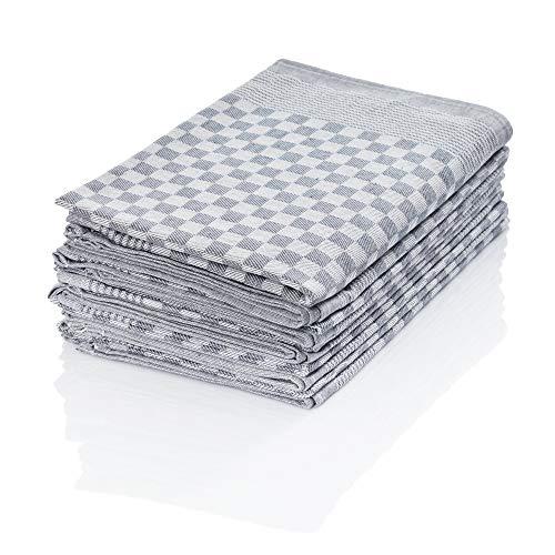 Hometex Premium Textiles 10er Set Zwirn Geschirrtücher | Grubentücher in extra Dicker Qualität - 220 g/m² | 100% Baumwolle sehr saugfähig | ÖKO-TEX 100 Standard | 50 x 70cm Grau