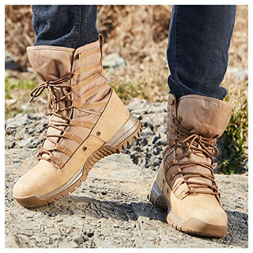GJHYJK Unisex Military Combat Boots Desert Combat Boots Waterproof High Top Tactical Boots Men's Lace Up Lightweight Training Shoes,Yellow-40