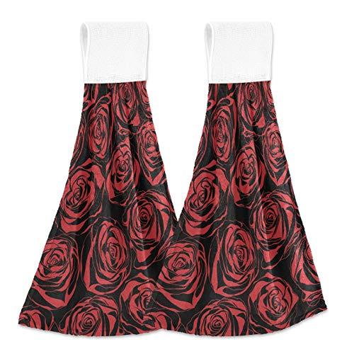 Oarencol Toalla de mano de cocina de color rojo rosa vintage con flores de San Valentín absorbentes para colgar toallas con lazo para baño, 2 unidades