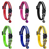 YHmall 6 Pack Reflective Cat Collars with Bells and Safety Release Cat Collars Adjustable 19-32cm