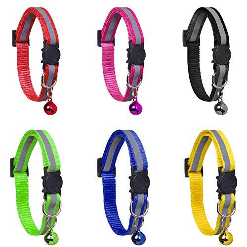 YHmall 6er Reflektierendes Katzenhalsband, mit Glocke und Schnalle, Verstellbar 20-30 cm, Coole Halsbänder für Hauskatzen, Kleine Hunde MEHRWEG