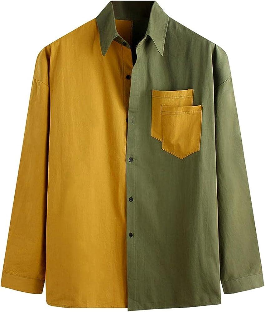 Kedera Men's Oversized Shirts Colour Block Long Sleeve Patchwork Button Up Jackets