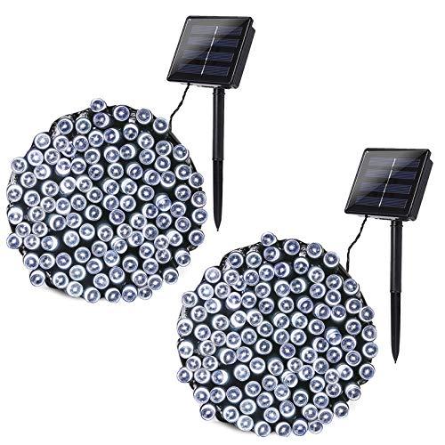 Joomer 2 Pack Solar String Lights 72ft 200 LED 8 Modes Outdoor String Lights Waterproof Solar Fairy Lights for Garden, Patio, Fence, Balcony, Outdoors (White)