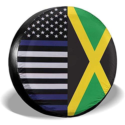 Zseeda Dünne Blaue Linie US-Flagge und jamaikanische Flagge Ersatzreifen-Radkappe wasserdichte staubdichte Universal-Reifenabdeckungen - viele Fahrzeuge 14 '15' 16 '17'