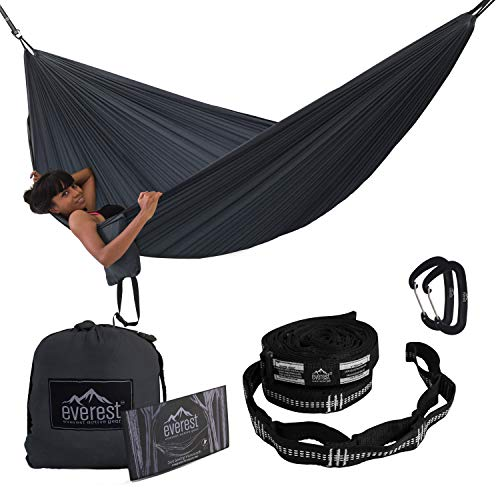 Camping Hammock - Everest | Double Outdoor Hammocks with Carabiners & Tree Saver Straps Parachute Ripstop Diamond Weave Nylon Lightweight Portable for Hiking, Backpacking & Travel
