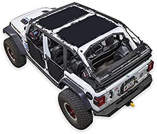 SPIDERWEBSHADE Jeep Wrangler 2 Piece - front and rear Mesh Shade Top Sunshade UV Protection Accessory USA Made with 10 Year Warranty for Your JLU 4-Door (2018-current) in Black
